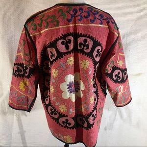 Anthropologie Jackets & Coats - Anthro OS Boho Kilim Jacket Embroidered Reversible